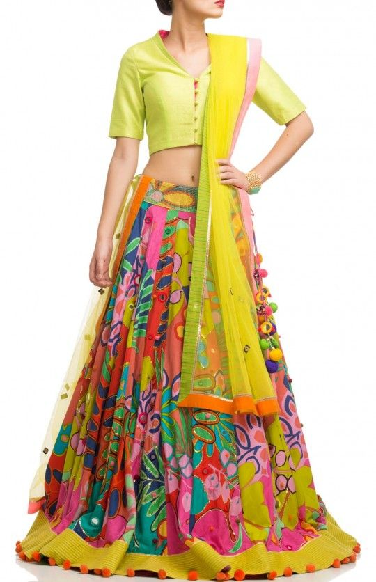 Printed lehenga with raw silk blouse