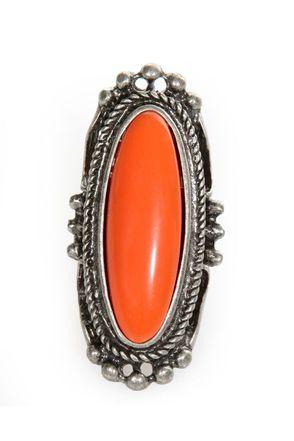 Cool Silver Ring - Orange Ring - Statement Ring - Pendant Ring - $12.00