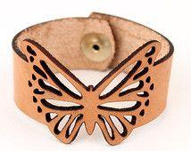 Butterfly Bracelet Veg Tan Leather Cuff Laser Cut