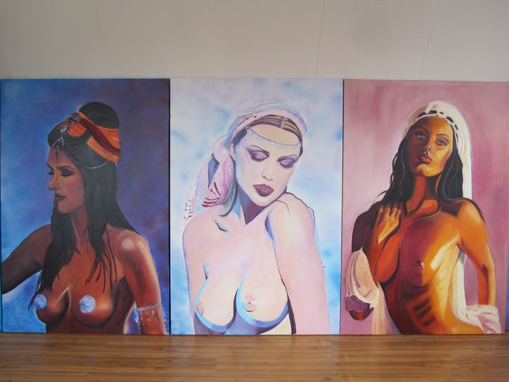 Some of the series of my painted Woman, with real snow in the background used as an effect #Art #Woman #Oil painting