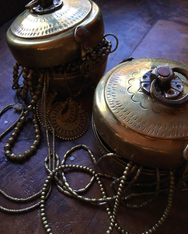Fill a tiffin with your treasures. We have only 2 traditional brass Indian tiffins remaining in store, link in bio.