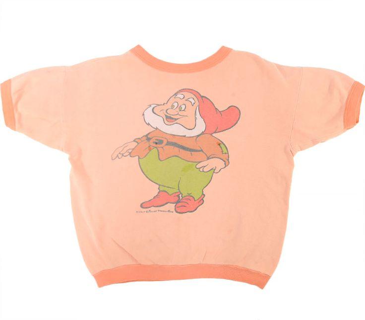 70's ディズニー 七人の小人 ''ハッピー'' 染み込み 半袖スウェット 実寸(M位)