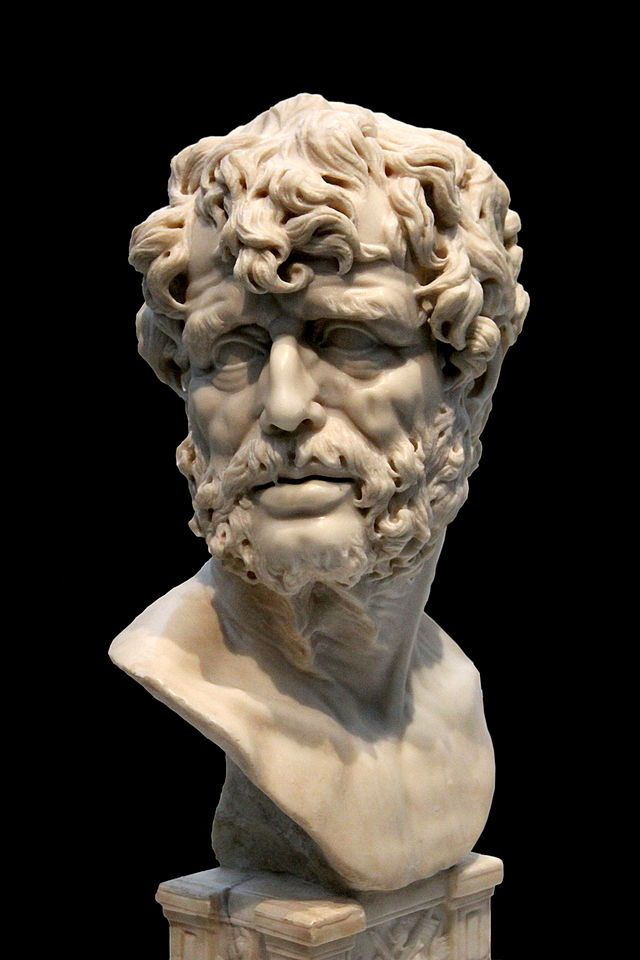 """""""The way is long if one follows precepts, but short and helpful if one follows patterns."""" -- Seneca the Younger #philosophy #stoicism #StoicWeek2014 (Image: Seneca, Museo del prado, Madrid. Public domain via Wikimedia Commons)"""