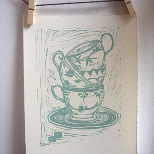 teacups lino print                                                       …