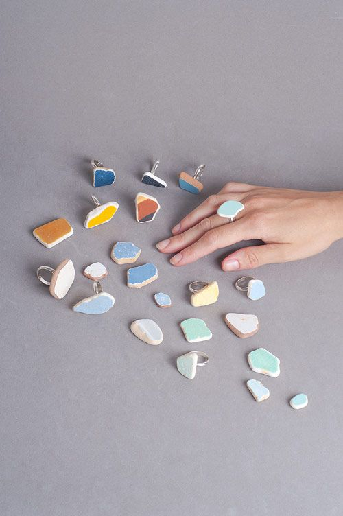"""Construction Waste"", a collection of Rings by Noga Berman...The rings are made from waste, leftover pieces of Ceramic found in construction sites & yards around Israel."