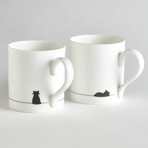 Sitting Cat and Sleeping Cat Mug  Set of Two by JinDesignsShop