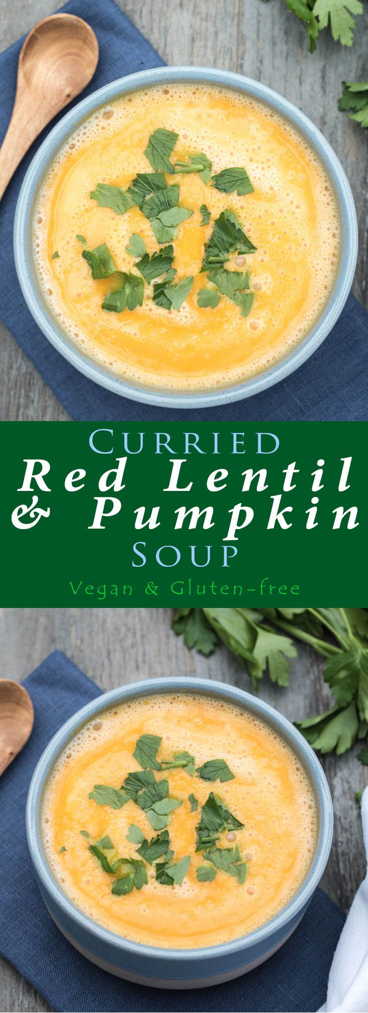 Incredibly Healthy Curried Red Lentil & Pumpkin Soup recipe that even my kids love! It's full of iron, fiber, and plant-based protein. Vegan and Gluten-free as well! /// VeganFamilyRecipes.com /// #autumn #soups