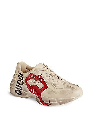 9f8e2450673 Gucci Rhyton Gucci Mouth Leather Sneakers