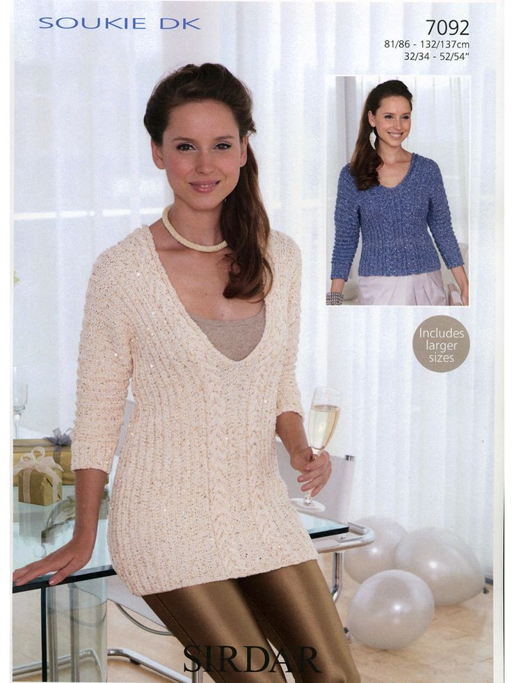 Sirdar 7092 Knitted Tops in Sirdar Soukie DK (#3 Weight Yarn) has a Long Top and Short Top