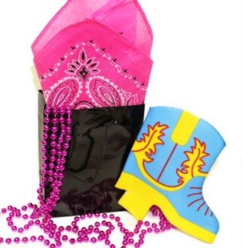 """For a great deal, purchase this Set of 5 Western Bachelorette Party Favor Kit. It's perfect for a western themed bachelorette party.  This Set of 5 Kits Contains: 5 Glossy Black Gift bag (Size: 5.5"""" x 4.5"""") 12 Metallic Pink Party Bead Necklaces 5 Pink Bandanas 5 Western Can Cooler (Assorted Colors) #westernthemedbacheloretteparty#westernbachelorettefavors#partyfavors#bacheloretteparty"""