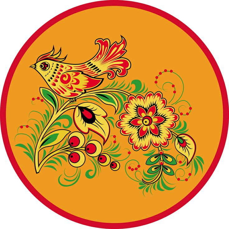 Folk Khokhloma painting from Russia. A round floral pattern with a bird in yellow, green and red colours. #art #folk #painting #Russian