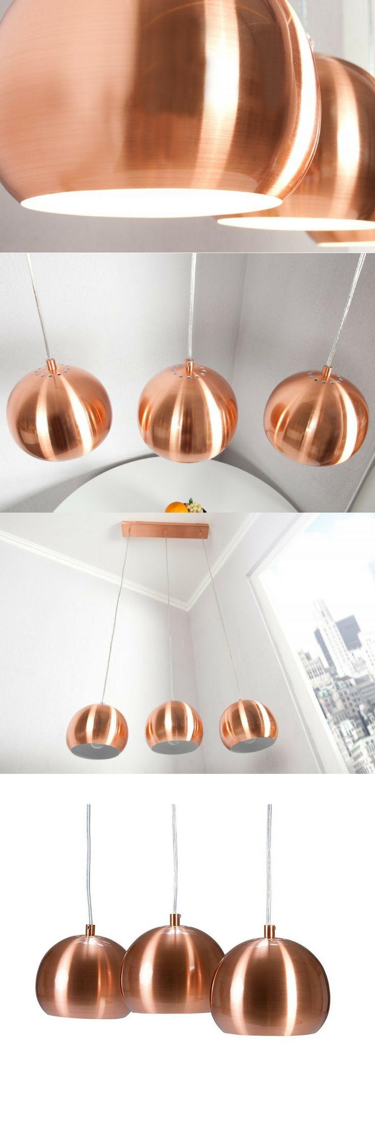Lampe Kupfer FarbigHngeleuchte Copper Ball 3er Hhenverstellbar Einrichten Und Wohnen Dekoration