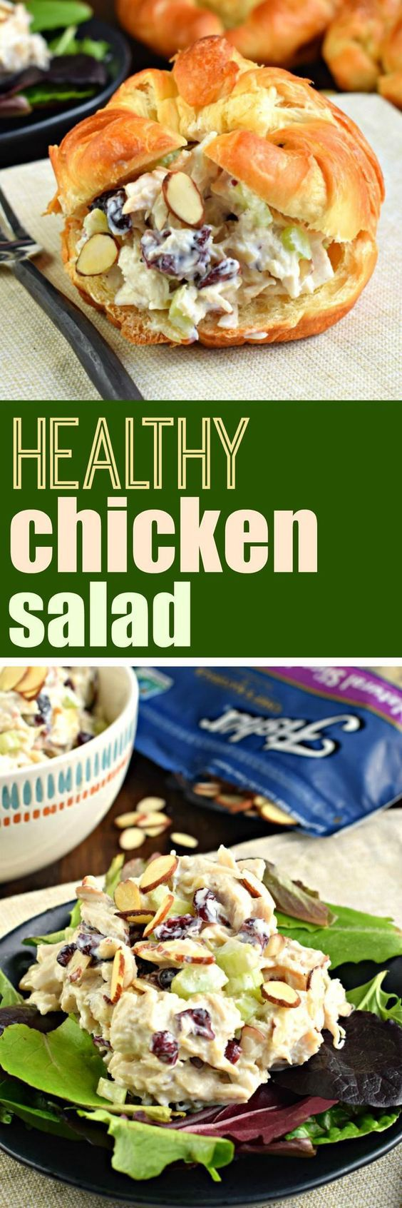 Youre going to love this heart Healthy Chicken Salad recipe. Packed with a crunch from sliced almonds, I took a classic salad and gave it a healthy makeover!