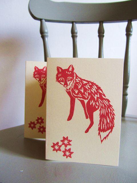 Lino print fox cards, by Meadowlark Prints, via Flickr.