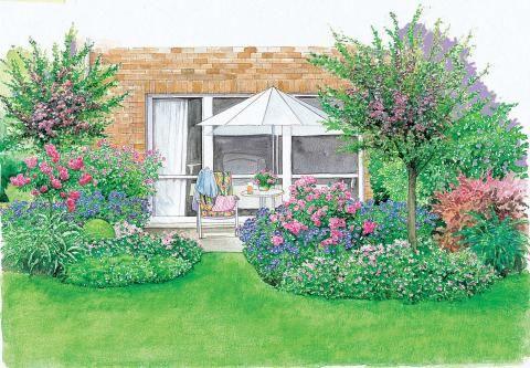 Terrasse mit Ziersträucher