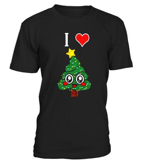 Cute i Love Christmas Tree Emoji Poop Funny Lit Winter Shirt