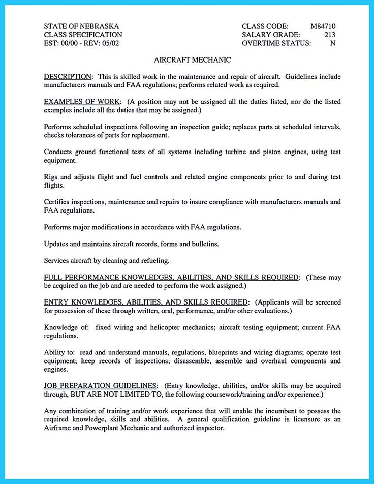 Aircraft Mechanic Sample Resume Cool Convincing Design And Layout