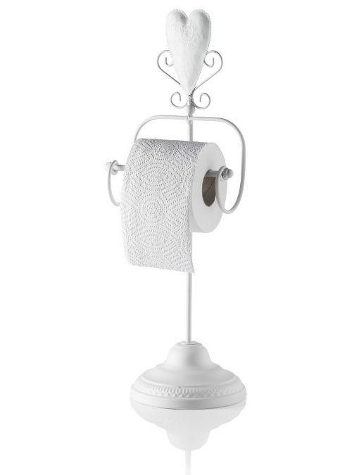 Porta carta igienica da terra con cuore, realizzato in ferro bianco stile shabby…