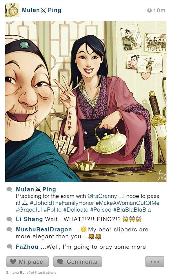 Mulan [also as Ping (x3) feat. Grandmother Fa, Shang, Yao, Ling & Chien-Po] (Facebook by SimonAbonafiniArtwork @Facebook) #Mulan