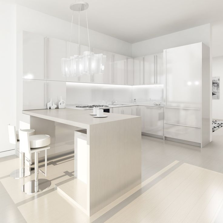Awesome Bright White Kitchen Design With Sleek White Cabinets And Wall Storages And Beige Dining Bar