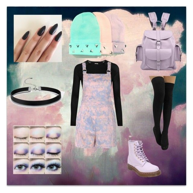 Pastel Goth (4) by frogie13 on Polyvore featuring Mode, Ally Fashion, Ivy Park, Dr. Martens, Grafea and Disney