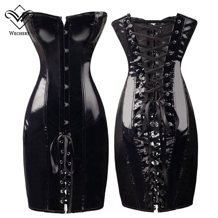 Wechery PVC Corset Leather Corsets and Bustiers Gothic Women Black Corset Dress Lace Up Bustier Sexy Lingerie Corselet
