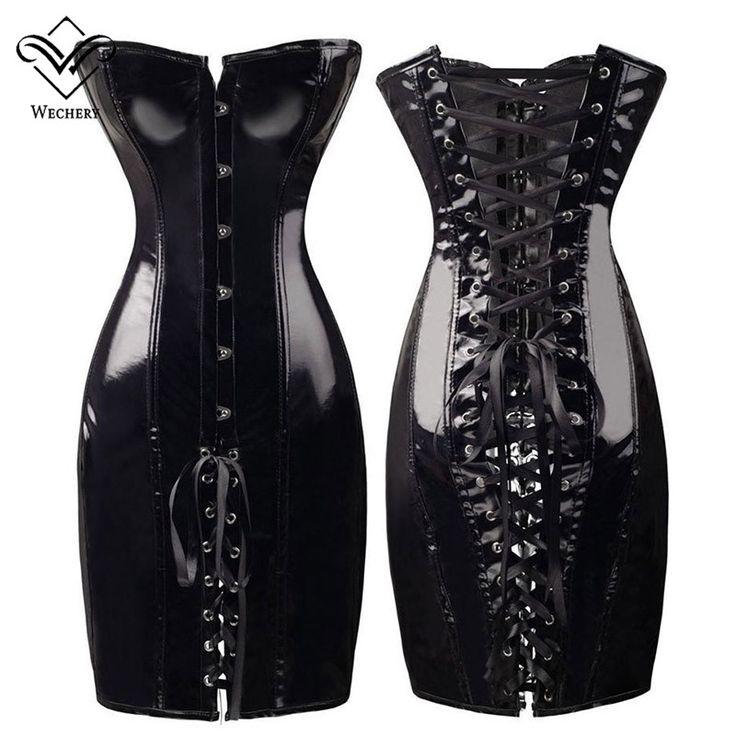 Wechery PVC Corset Leather Corsets and Bustiers Gothic Women Black Corset Dress Lace Up Bustier Sexy Lingerie Corselet