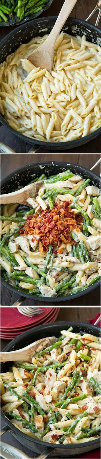 Creamy Chicken and Asparagus Pasta with Bacon Made 9-21-15 ALL the boys liked. Used fresh basil from the garden and garlic salt to cook the chicken. Chicken had great flavor, the noodles could have used a little but more salt but with the bacon and chicken it melded together alright.