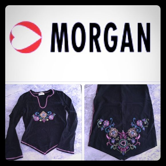 MORGAN De Toi Skirt & Top Set Morgan De Toi skirt and top set. Made in France. Black with pink. Very stretchy. Morgan De Toi Skirts