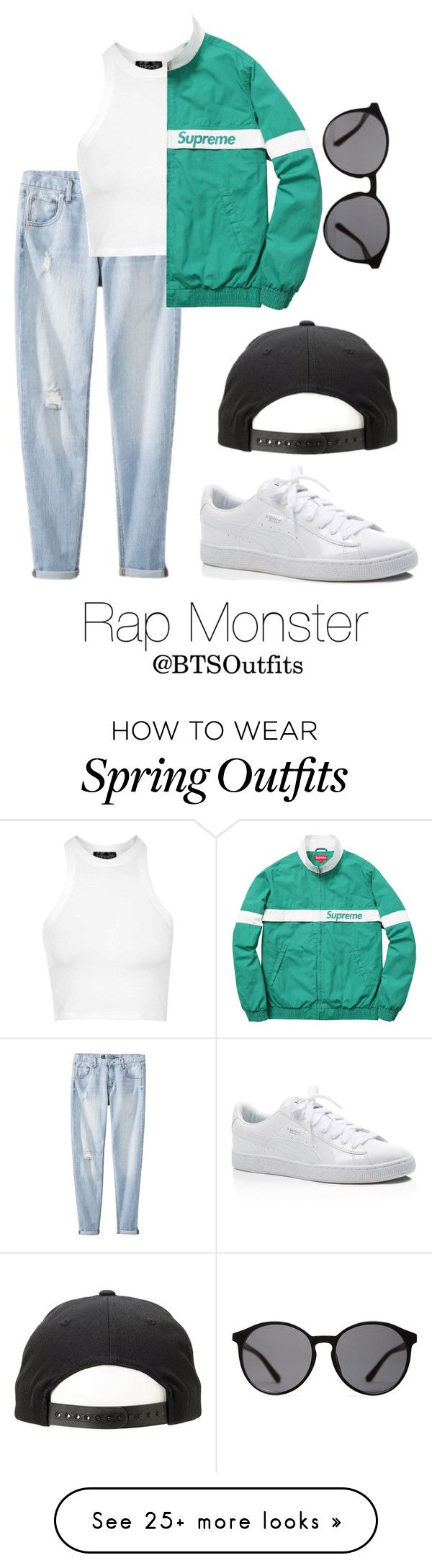 """""""Spring Outfit Inspired by Rap Monster"""" by btsoutfits on Polyvore featuring Mossimo, Topshop, Linda Farrow, Puma, women's clothing, women, female, woman, misses and juniors"""