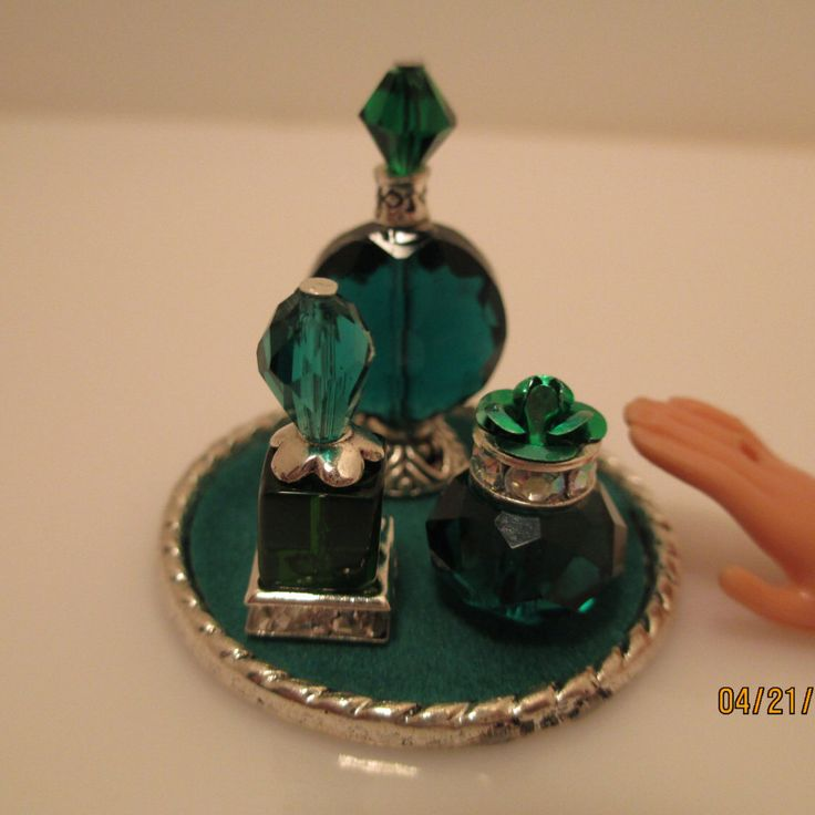P731 - 1:6 scale Green & silver Perfume bottles for Barbie, Fashion Royalty by DollyDelectables on Etsy https://www.etsy.com/listing/230799078/p731-16-scale-green-silver-perfume