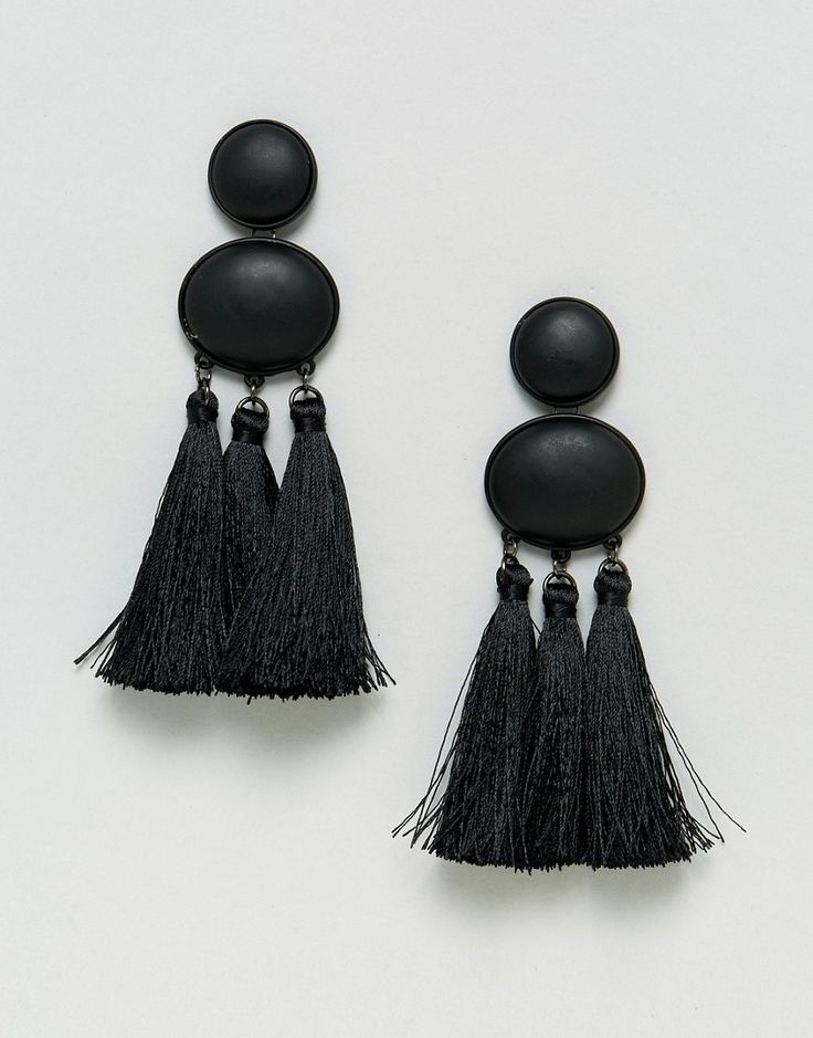 ASOS Statement Matte Black Tassel Earrings