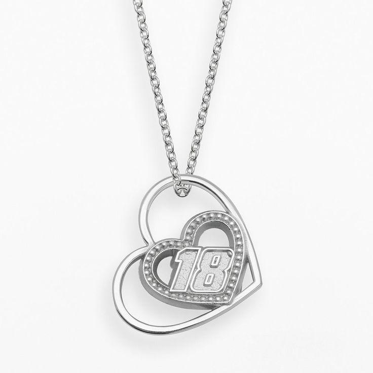 "Insignia Collection Nascar Kyle Busch Sterling Silver 18 Heart Pendant, Women's, Size: 18"", Grey"