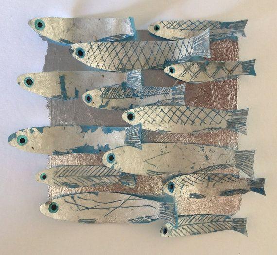 Collage di pesce d'argento 5 x 5 opere d'arte di JennyGunnArt