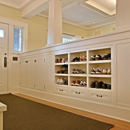 Entryway Built In Shoe Storage  Just Need A Much Smaller Version!
