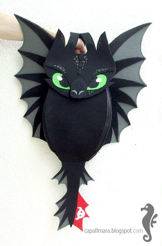Backpack Toothless  funny cute black dragon  felt  by CapallMara, zł300.00