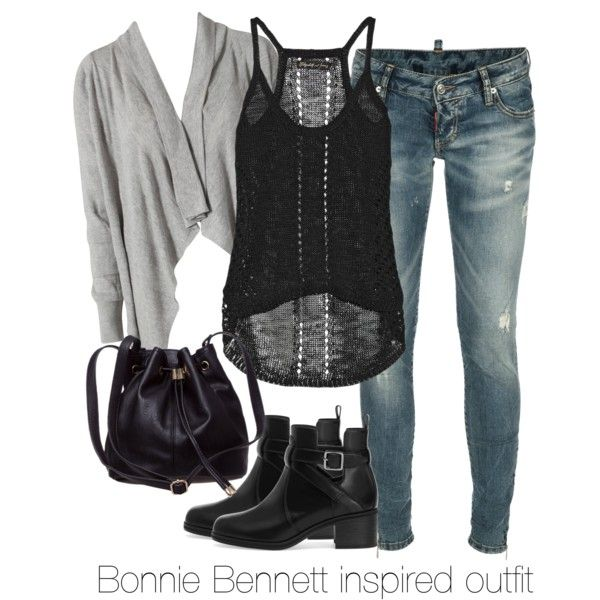 Bonnie Bennett inspired outfit/The Vampire Diaries by tvdsarahmichele on Polyvore featuring Elizabeth and James, BEA, Dsquared2, Pull&Bear, katgraham, thevampirediaries and BonnieBennett