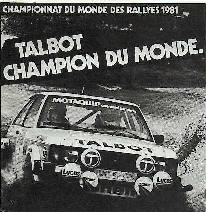 Talbot Sunbeam Lotus - 1981 WRC Champion