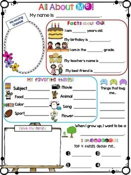 """All About Me PosterIncludes both American and British spelling (color/colour; favorite/favourite; movie/film)This cute and simple All About Me Poster can be used as an icebreaker.Included are:* Name* Me saying """"cheese""""* Facts about me* My favorite things* When I grow up...* Things that bug me...* I love my family* I am awesomeYou might also like:All About Me Mini  Book_______________________________________________We are active on…"""