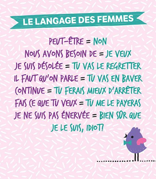Le langage des femmes sur http://www.flair.be/fr/amour/300245/petit-dictionnaire-du-langage-feminin. J'aime trop !!