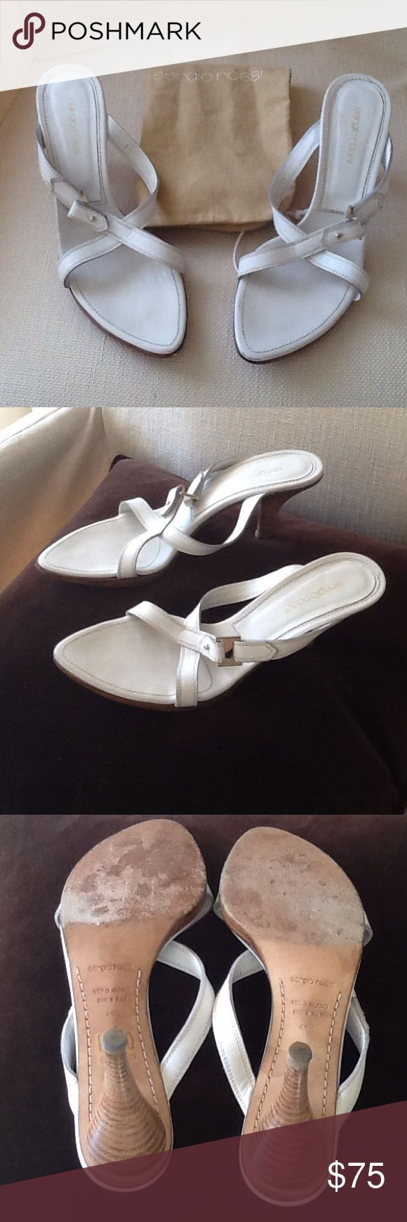 Sergio Rossi White Sandles In great condition. Worn only for fashion show models. Size 10.50 Sergio Rossi Shoes Sandals