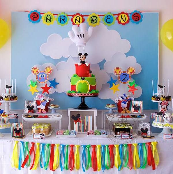 mickey mouse clubhouse 2nd birthday dessert table