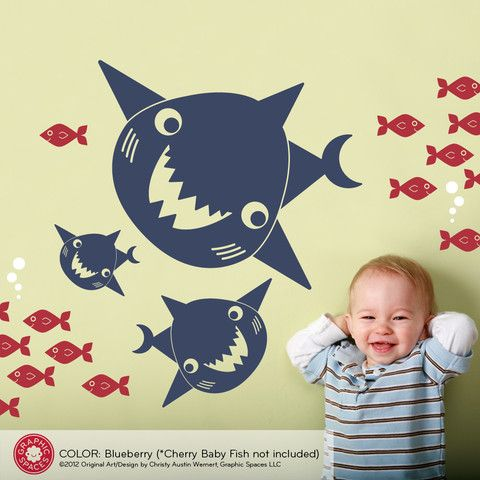 Happy Shark Family Wall Decals are super cute ocean nursery room decor. Our Shark room theme removable wall art is perfect for little boys! Original artwork by www.graphicspaces.com