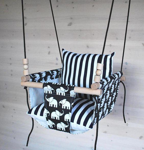 Baby Schaukel/Kleinkind schwingen / Navy weißen Elefanten schwingen / Kinderzimmer Swing / innen Swing/außen schwingen / Baumwolle Leinen Stoff Swing / Hängematte Swing Unsere einzigartige Babys und Kleinkinder Schaukeln wurde entwickelt, mit Spaß, frischen und modernen Stil im Sinn. Halten