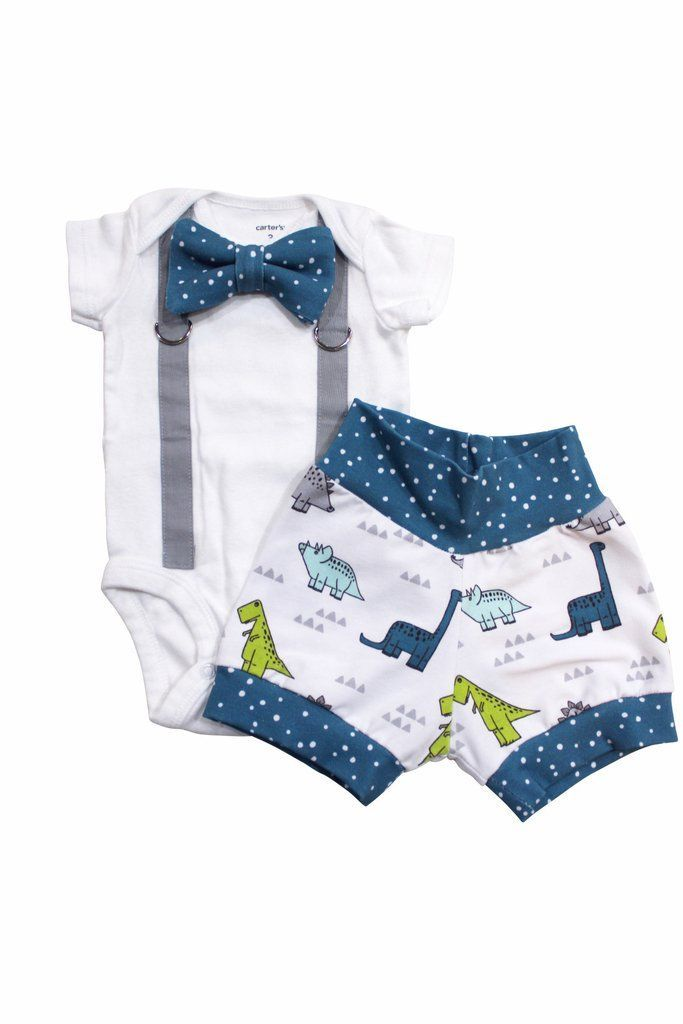 baby boy coming home outfit for summer - Baby Dinosaur outfit with shorts and bowtie – Cuddle Sleep Dream #babyboyoutfits