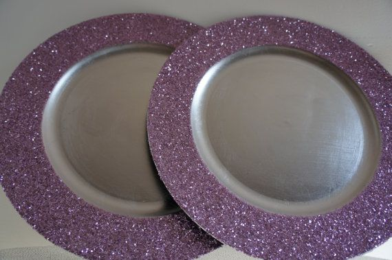 purple glitter chargers