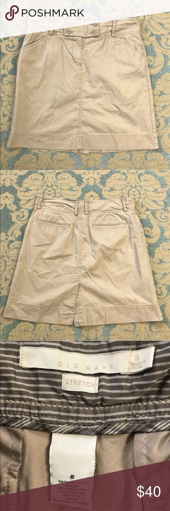 """Old Navy Khaki Straight Skirt NWOT 19"""" Long Old Navy Khaki Straight Skirt NWOT  Women's Size: 8  Material: 98% Cotton 2% Spandex  No flaws.  Measurements lying flat: Waist 15"""", Hips 21"""", Length 19"""".  Please, review pictures. You will get the item shown. Smoke & pet free home. Old Navy Skirts Mini"""