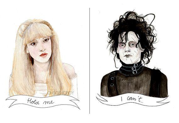 Edward Scissorhands watercolour portrait PRINT Kim Johnny Depp Winona Ryder Tim Burton