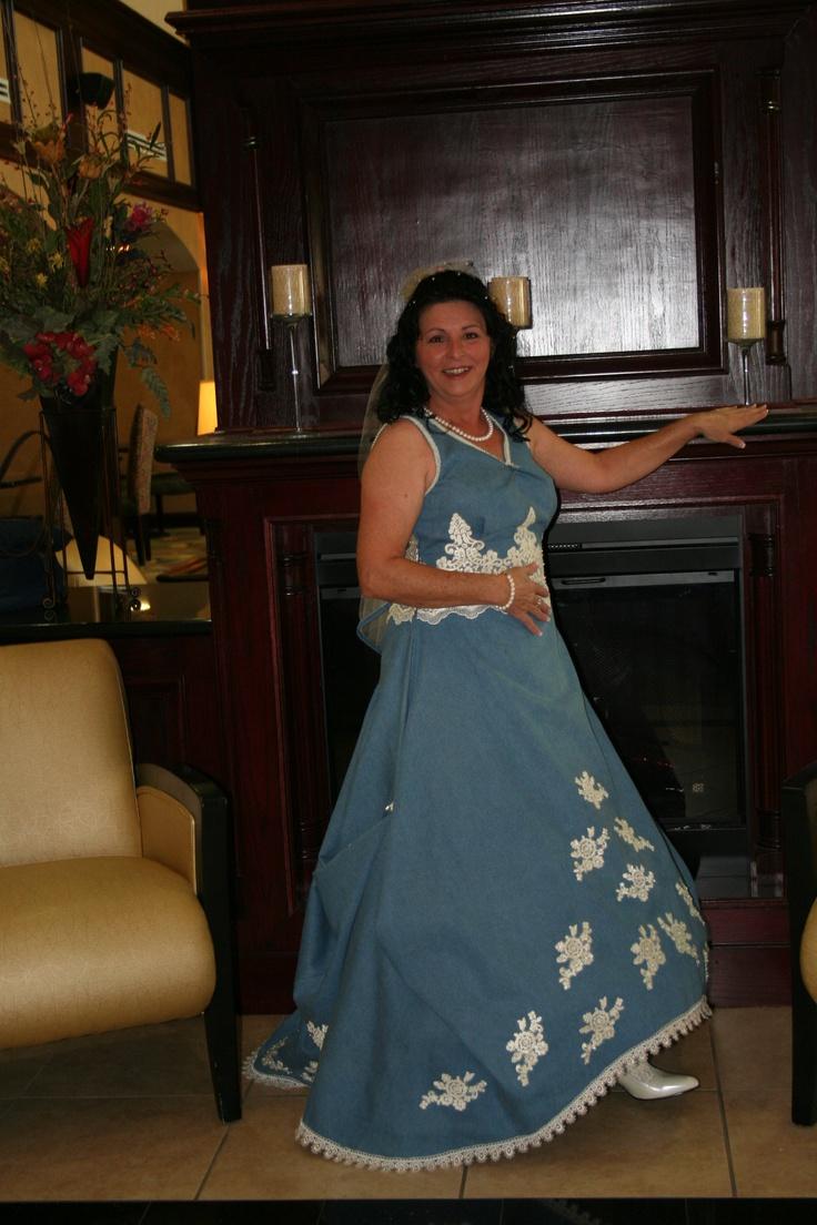 My denim wedding dress that i made for my rustic western for Western denim wedding dresses