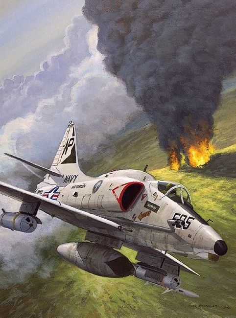 "A-4 Skyhawk""   On 23 May 1972, VA-55's Lt Dennis J Sapp launched with his wingman, Lt Ken Bray, from USS Hancock (CVA-19) on an Iron Hand mission to cover an Alpha strike against targets northeast of Haiphong, in North Vietnam. Sapp's section had two missions – to destroy a SAM site adjacent to the target and to silence a lethal cluster of SAM sites ringing Haiphong near the target area"